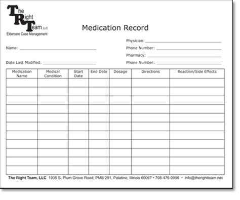 medication record form template 5 best images of printable home med blank medication