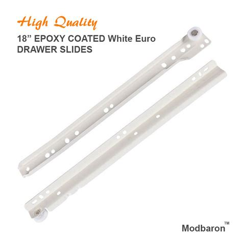 kitchen cabinet drawer slides hardware pair of 18 quot epoxy coated white euro drawer slides kitchen