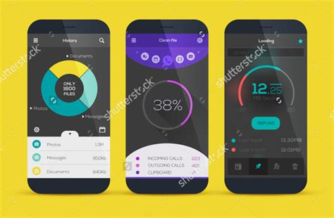 mobile app template design 12 best collection of flat ui designs free premium