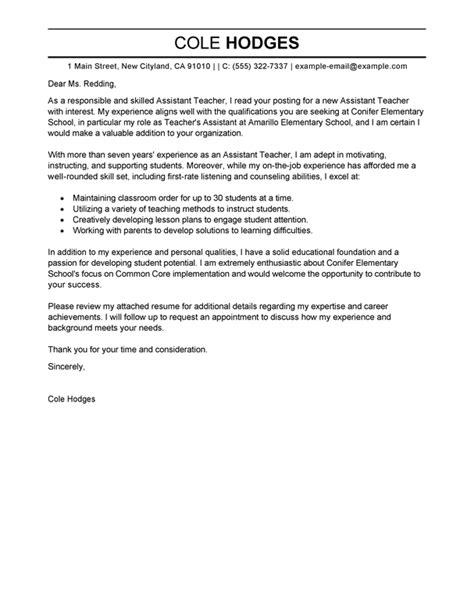 educational assistant cover letter exles best assistant cover letter exles livecareer