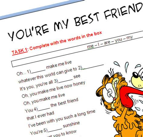theme song you re my best friend song worksheet you re my best friend with video