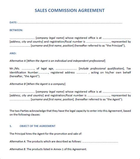 commission sales contract template sales agreement 6 free pdf doc