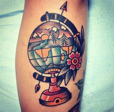 globe tattoo ideas traditional american globe
