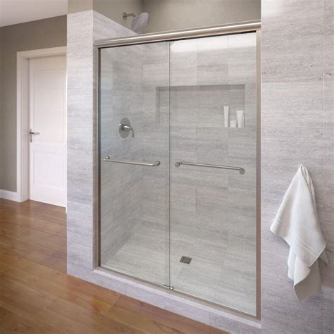 Semi Frameless Sliding Shower Door Basco Infinity 47 In X 70 In Semi Frameless Sliding