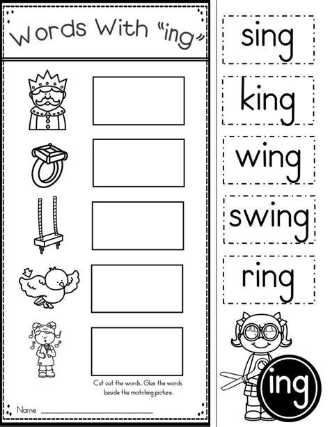 word family ing phonics practice printables kindergarten
