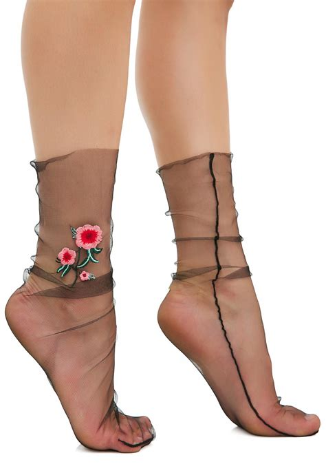 Sheer Socks sheer floral socks dolls kill