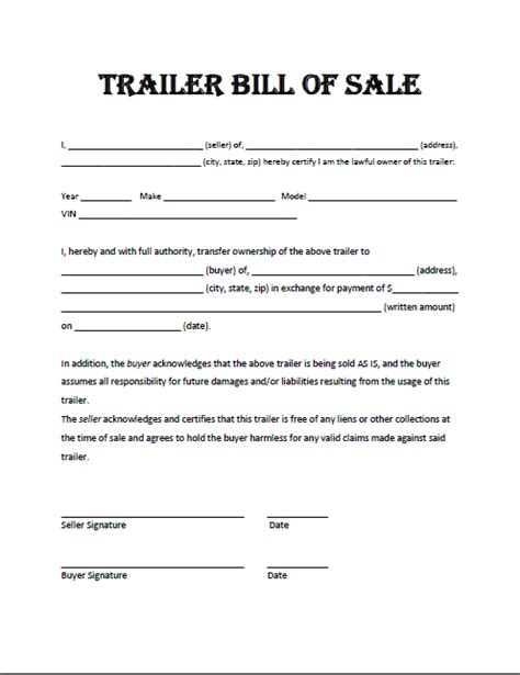 bill of sale template for trailer free printable trailer bill of sale all states
