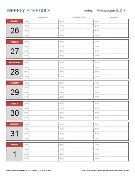 Free Weekly Schedule Template For Excel Free Excel Weekly Schedule Template