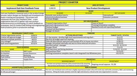 team charter template exle best photos of project charter template excel six sigma