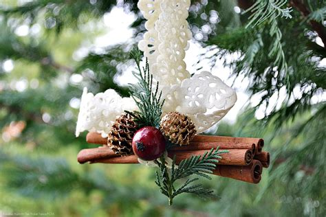 cinnamon stick ornament at the picket fence