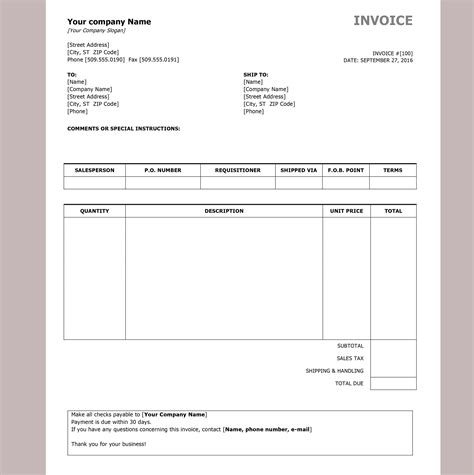 create an invoice in microsoft word