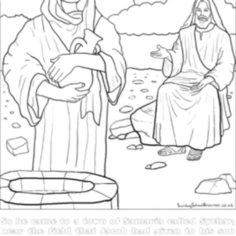 jesus and the samaritan at the well coloring pages coloring page jesus and at the well archives mente