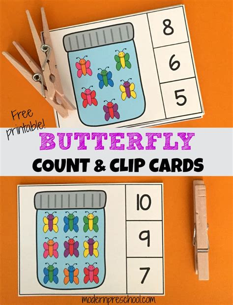 cards for kindergarten butterfly count clip number cards