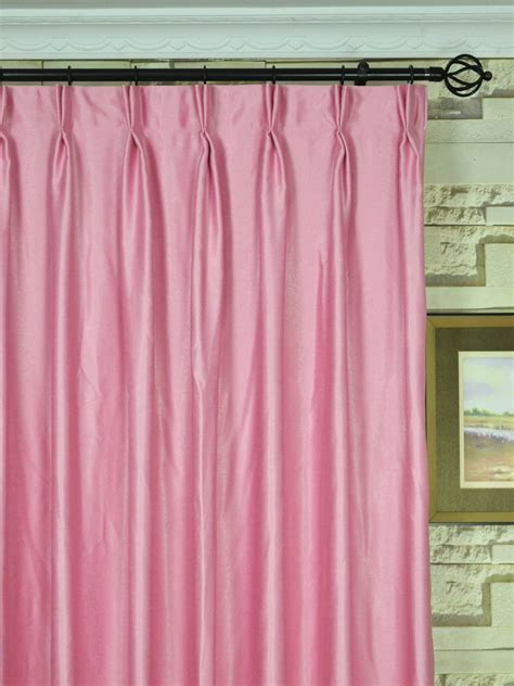 pink pleated curtains swan pink and red solid double pinch pleat ready made