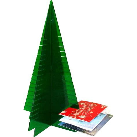 lucite christmas tree card holder display 1960 s from