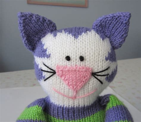 cat knitting pattern justjen knits stitches knitted cat pattern