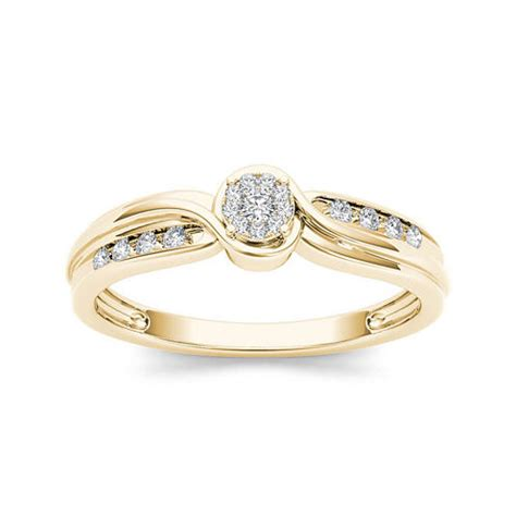 1 10 ct t w 10k yellow gold engagement ring