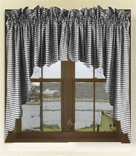 Scalloped Valances For Windows Decor Black Gingham Check Scalloped Window Swag Valance Set
