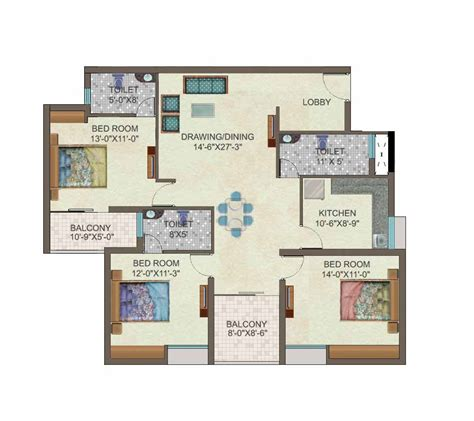 3 bhk floor plan ideal properties 3 bhk luxury apartments