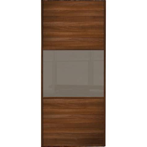 wickes wardrobe doors wickes sliding wardrobe door wideline walnut panel cappuccino glass 2220 x 610mm wickes co uk