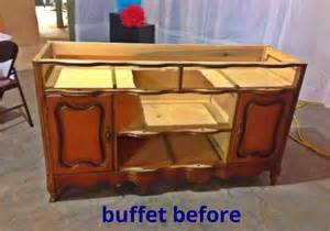 Upcycled Bathroom Storage - turning a buffet into a bathroom vanity hometalk