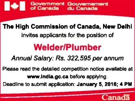 Plumbing Salary Canada by In Government Of Canada Vacancies In Government Of
