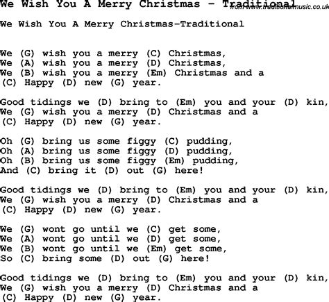 printable lyrics database search results for we wish you a merry christmas lyrics