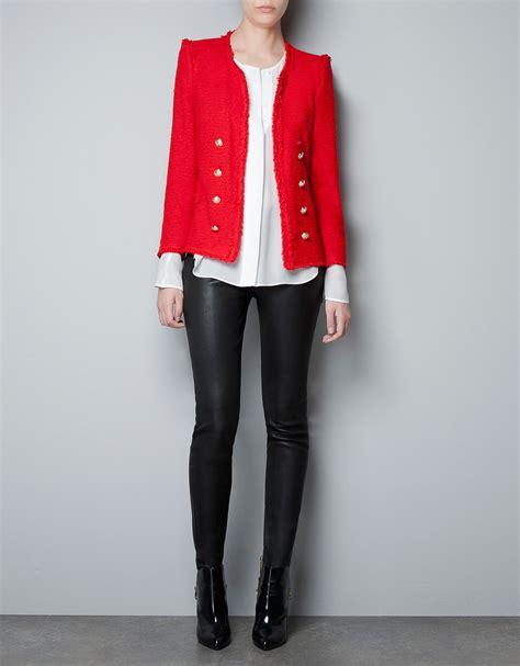 Blazer Zara Zara Fabric Blazer In Lyst