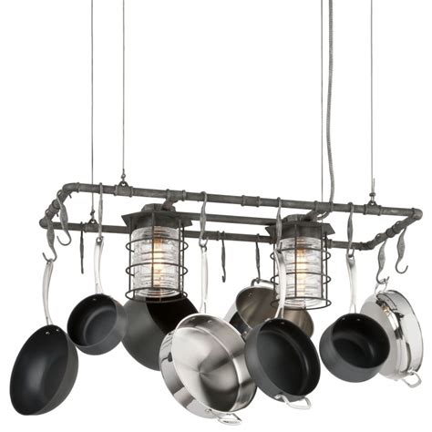 Kitchen Island Pot Rack Lighting Troy Lighting F3798 Aged Pewter Brunswick 2 Light Kitchen Island Pot Rack With Pressed Glass