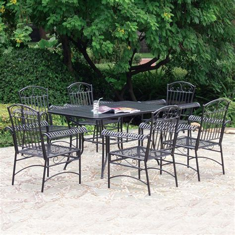Shop International Caravan 7 Piece Slat Seat Wrought Iron Wrought Iron Patio Dining Set