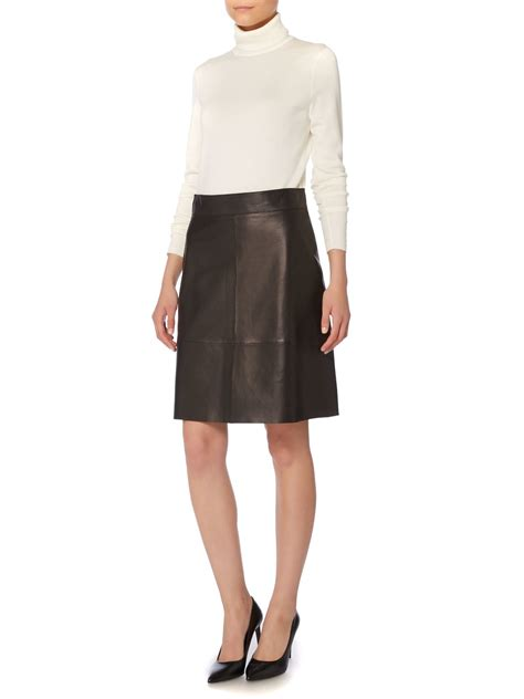 serapa a line leather skirt in black lyst