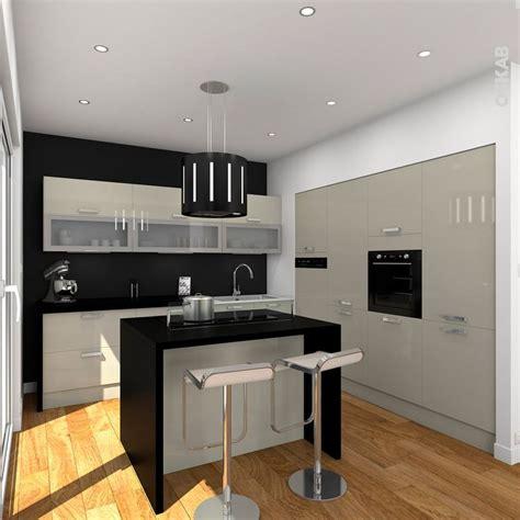plan cuisine en l avec ilot cuisine couleur argile en l ouverte sur salon avec ilot