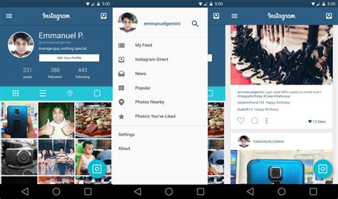 layout from instagram android descargar instagram material design concepto apdroid