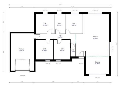 Plan Maison Plain Pied Gratuit 3207 by Plan Maison Individuelle 4 Chambres 78 Habitat Concept