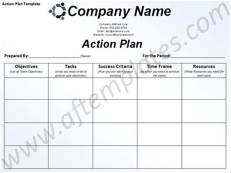 free business action plan template action plan template