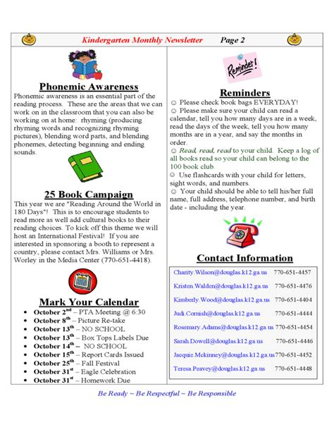 kindergarten monthly newsletter free download