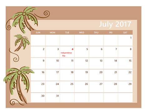 Calendar For July 2017 Printable Calendar Printable Calendar Templates