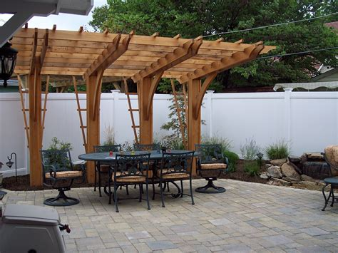 Cantilever Pergola Over Unilock Paver Patio Pergolas Pergola Patio
