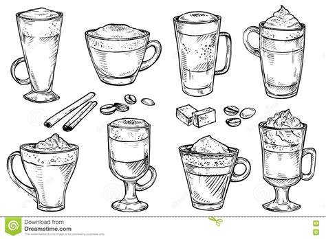 Sketch Set Of Coffee Kind Menu Drinking Cup. Stock Vector   Image: 71872323