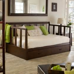 Daybed With Trundle Bedding Sets Rustic Daybed With Trundle Wooden Material Ergonomic Pillows And White Color Rug Cover Bedroom