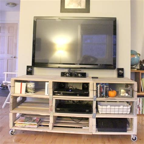 diy wood pallet entertainment tv rack pallets designs