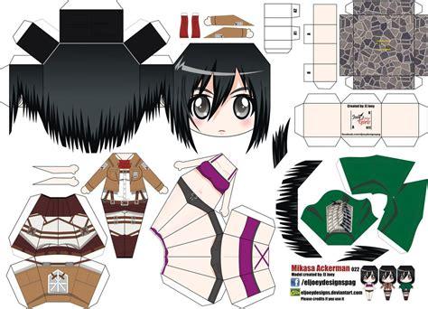 Papercraft Animation - mikasa ackerman joey s chibi 022 by eljoeydesigns