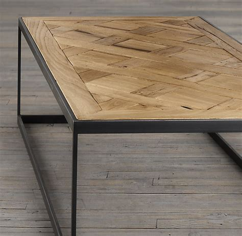 Fancy Reclaimed Oak Parquet Coffee Table Coffee Tables