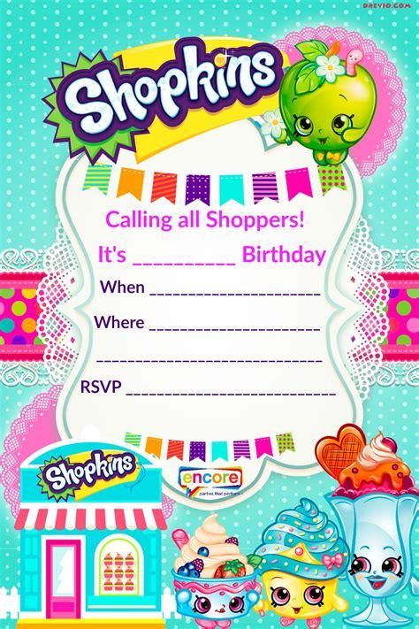 Updated Free Printable Shopkins Birthday Invitation Template Free Invitation Templates Drevio And Invite Template
