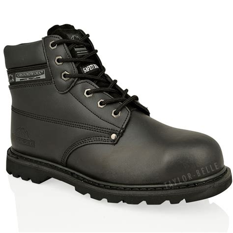 steel toe lace up work boots mens steel toe cap work boots saftey leather lace up ankle