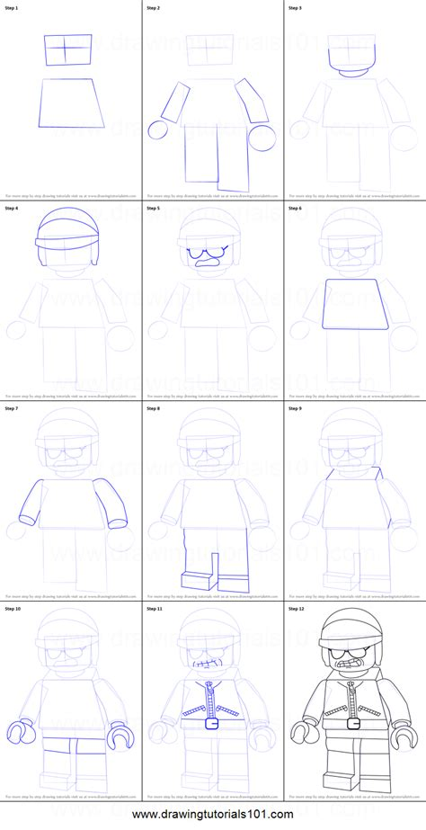 tutorial lego movie how to draw bad cop from the lego movie printable step by