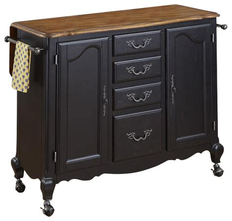 oak and rubbed black kitchen cart contemporary kitchen