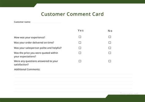 comment card template microsoft 11 comment cards pdf word adobe portable documents