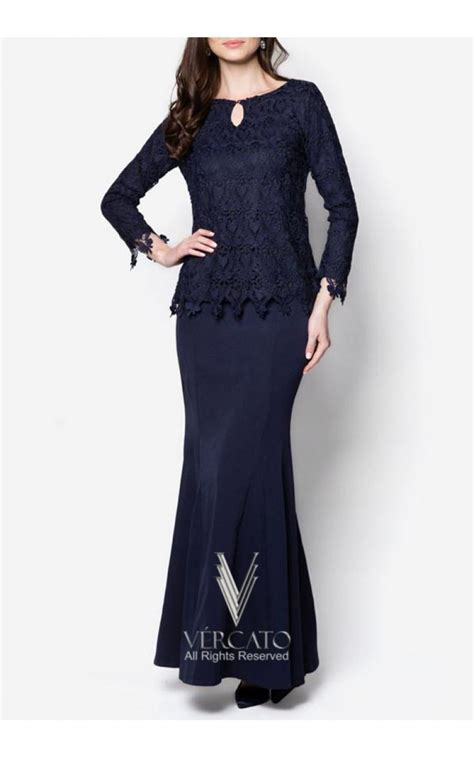 Lace Baju Kurung baju kurung moden lace with keyhole vercato elsa in navy blue that look