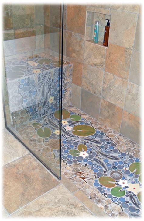 Handmade Bathroom Tiles - waterfall trout decorative handmade custom ceramic